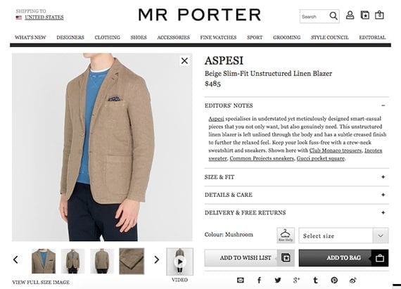 Mr. Porter includes a brief video on many of its product detail pages. In this example, a model simply turns around to give shoppers a better view.