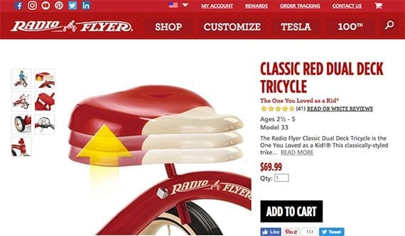 Radio Flyer uses images of specific product features to help communicate the tricycle's value. You can do the same on your ecommerce site.