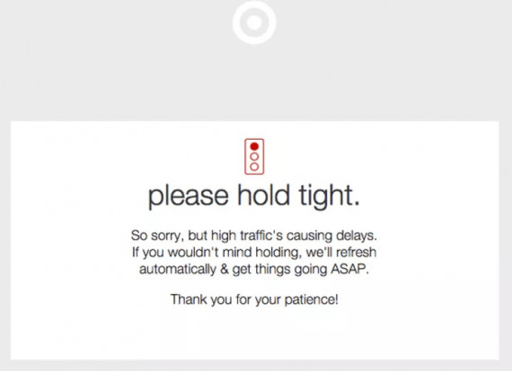 Server error message on Target.com shown during 2015 Cyber Monday.