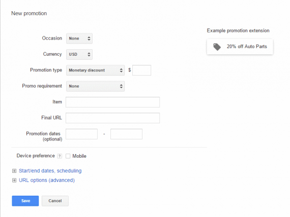 AdWords Promotion Extension screen.