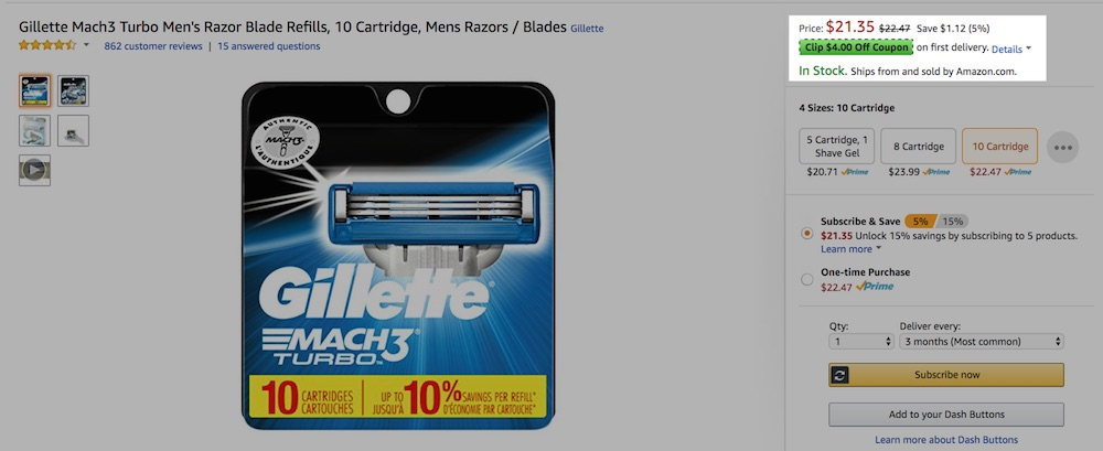 2 strategies to boost amazon sales practical ecommerce gillette issued coupons at top right in the screenshot above to reduce the fandeluxe Images