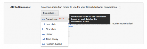 Google Attribution allows you to choose from multiple attribution models — Data-driven, Last click, First click, Linear, Time decay, and Position based.