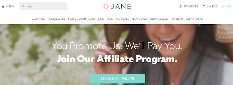 "Jane offers detailed explanations of its affiliate program and invite prospects to ""Become An Affiliate."""