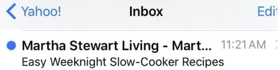 This email from Martha Stewart Living is timely since it was sent on a Monday with ideas for weeknight meals.