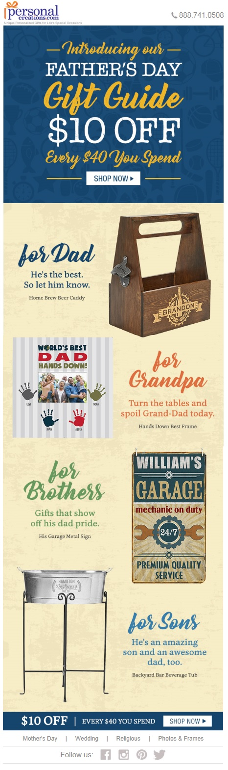 This email from PersonalCreations.com contains a $10 off offer. The merchandise focuses on Father's Day, with different products for different fathers.