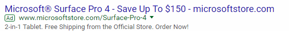 """A standard AdWords ad for the query """"surface pro 4""""."""