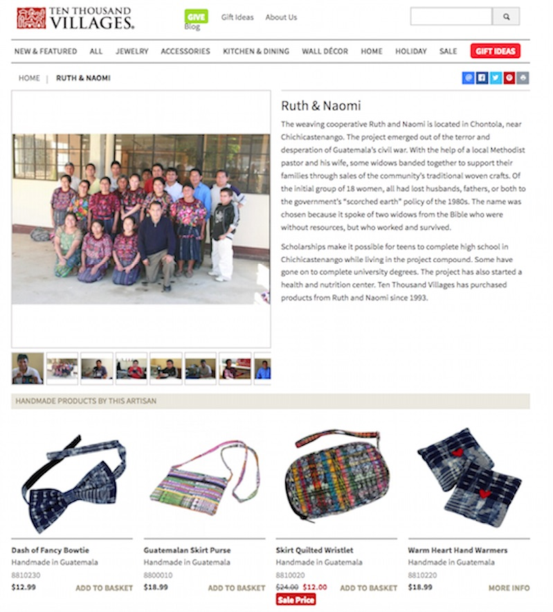 On its ecommerce site, Ten Thousand Villages spotlights the makers of all products and provides printable