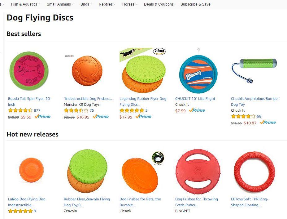 Amazon's category segmenting.