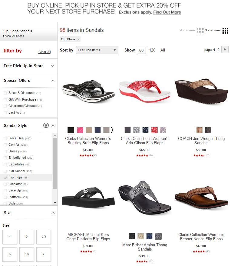Macy's default sort on categories is a custom featured sort.