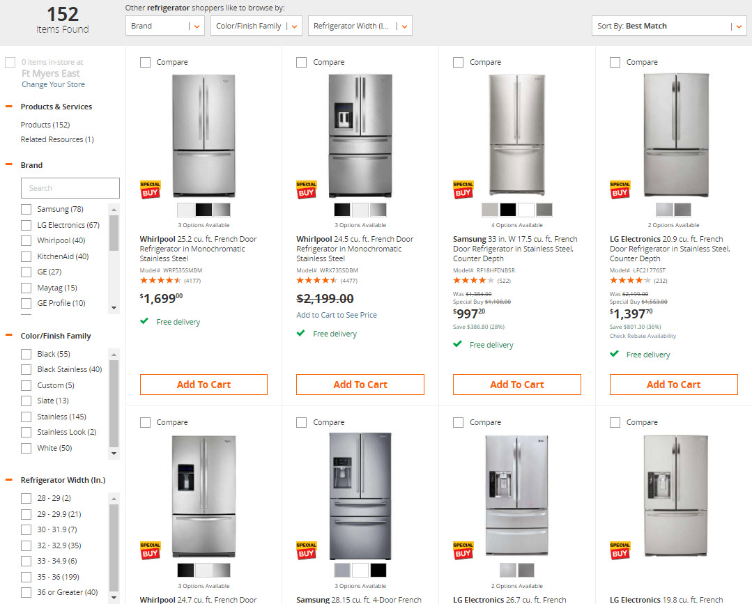 Filters help shoppers locate exactly what they want, such as in this example from Home Depot.