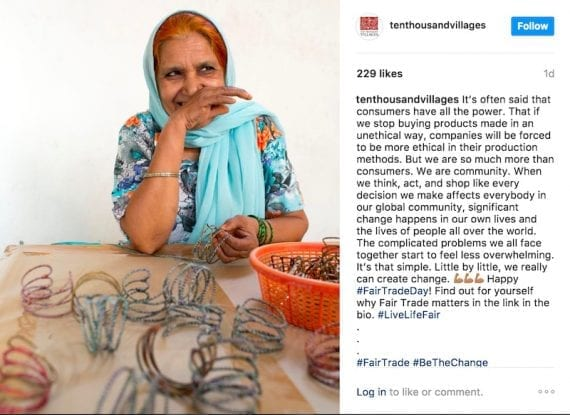 Ten Thousand Villages shares stories of its makers on social networks, such as Instagram.