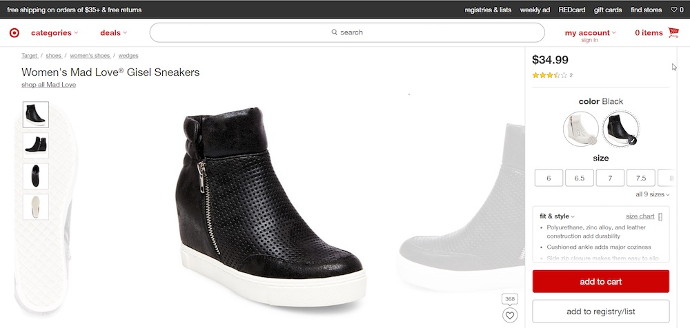 "This pair of shoes from Target.com might be assigned the categories of ""women's shoes,"" ""sneakers,"" ""wedges,"" and ""new arrivals."""