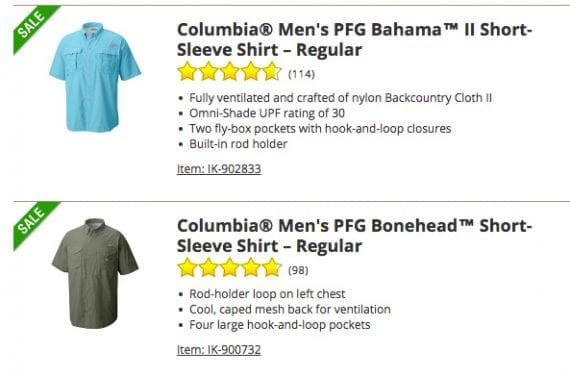 "Notice in these product titles the brand name, Columbia, is shown first since many shoppers will search for a ""Columbia shirt,"" or similar."