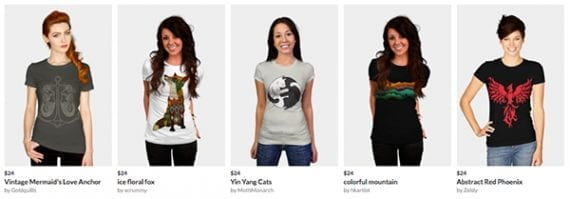 This t-shirt store uses product images featuring models.