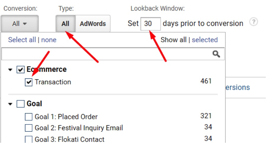 "Select ""Ecommerce"" as the ""Conversion"" type and deselect all ""Goals"" so the reporting focuses on ecommerce transactions and revenue. Keep ""All"" for conversion ""Type"" and keep the ""Lookback Window"" at 30 days prior to conversion."