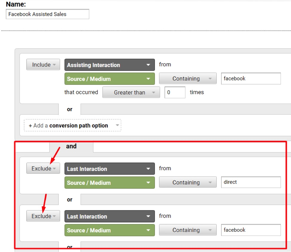 To exclude conversions where the last click is direct or Facebook, add exclusions for those two sources.