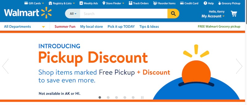 """Walmart is spending heavily to enhance its ecommerce capabilities. This includes acquiring innovative ecommerce retailers and investing in technology infrastructure. Walmart's """"Pickup Discount,"""" shown above, rewards customers who buy online and pick up at a local Walmart store."""