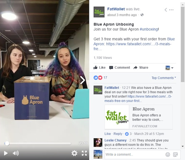 Blue Apron opened the contents of a product box and live streamed it all on Facebook, helping its audience understand what it sells.