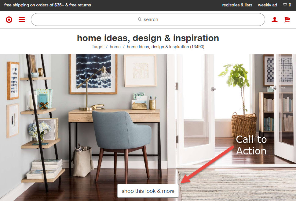 Stellar photography and a simple CTA to promote a specific look or theme works well for home decor. <em>Source: Target.</em>