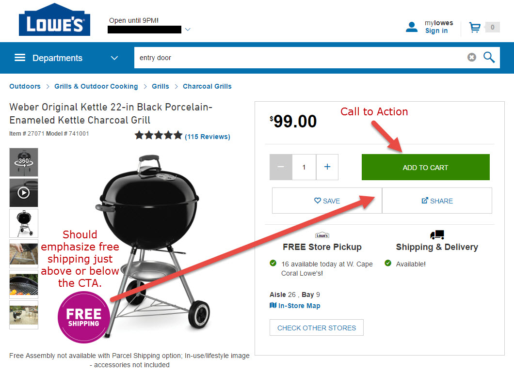 "The most common CTA is the ""Add to Cart"" button. Incorporate compelling, salable text for a bigger impact. <em>Source: Lowe's.</em>"