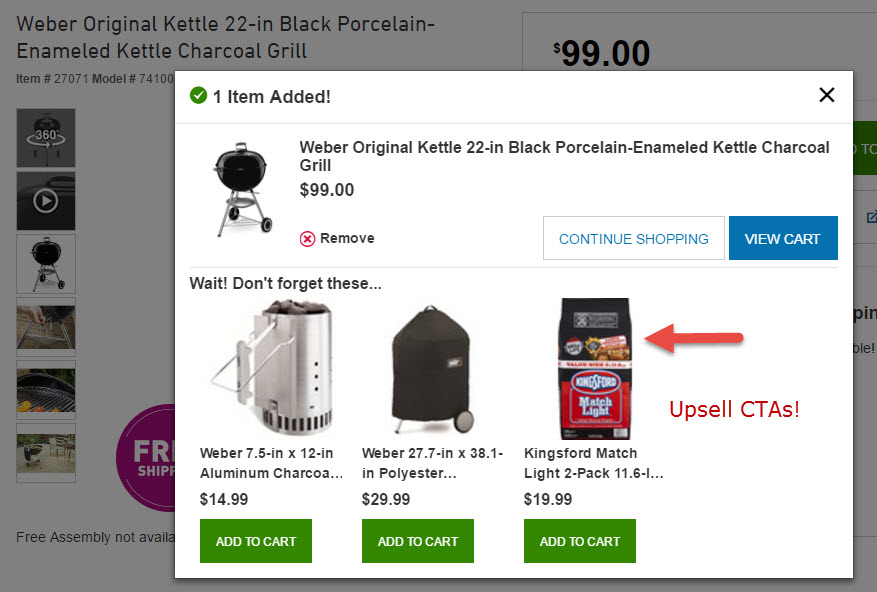 Upsell CTAs help boost conversion and average order values, especially if they're offered at a discount. <em>Source: Lowe's.</em>