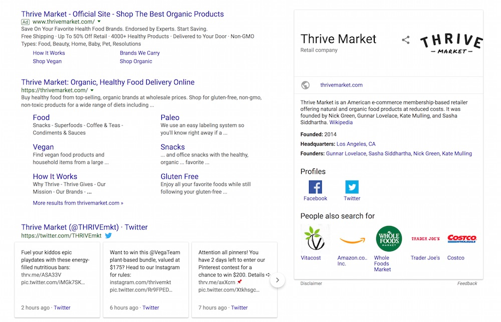 Adding social media links with proper Schema markup can help Google connect your site and social media profiles. This can help establish a knowledge graph, as seen in this example from Thrive Market.