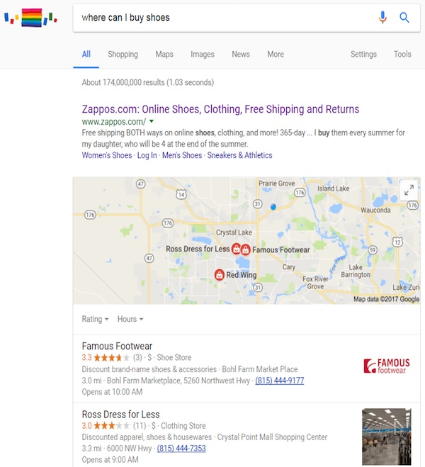 """Google search results for the factual query """"Where can I buy shoes?"""""""