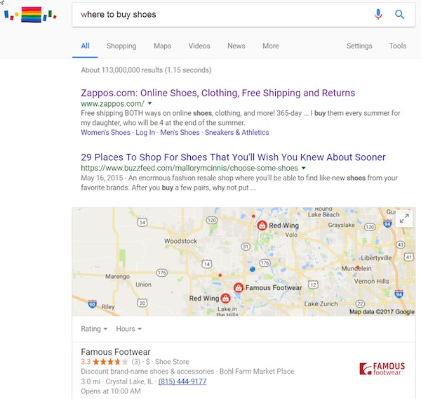 "Google search results for the neutral query ""where to buy shoes."""