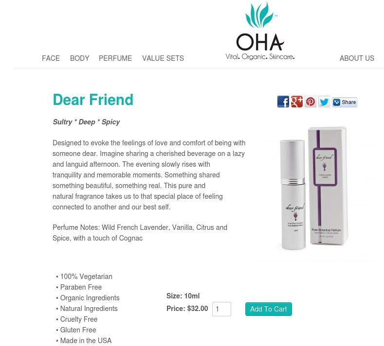 "A quiet, rich calm comes across in this product description, for ""Dear Friend"" perfume, from OHA.  It reads, in part, ""Designed to evoke the feelings of love and comfort of being with someone dear. Imagine sharing a cherished beverage on a lazy and languid afternoon. The evening slowly rises with tranquility and memorable moments."""