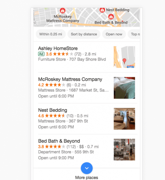 "When searching ""bedding near me,"" Bed, Bath & Beyond ranks third because there are closer competitors."