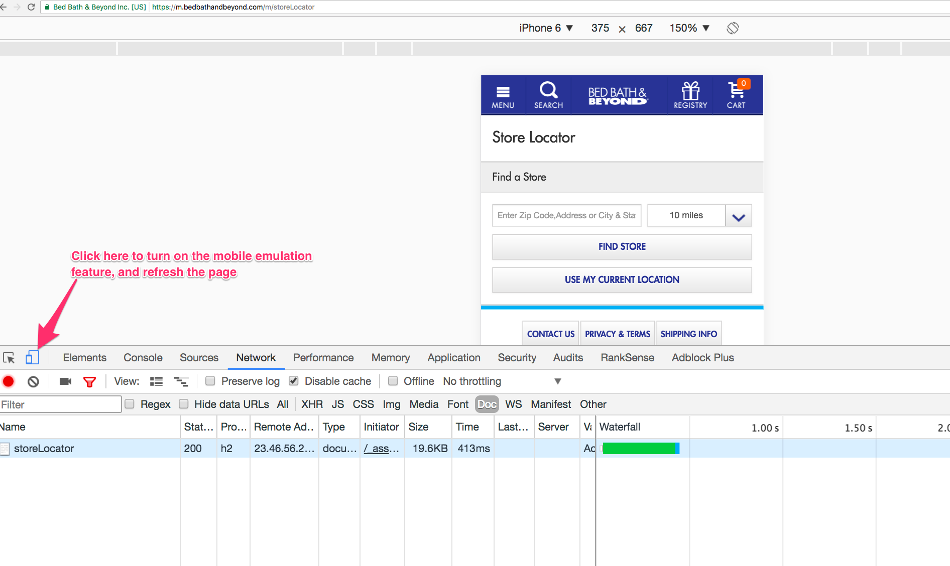 Using Chrome's Developer tools, we can see a mobile user's point of view.