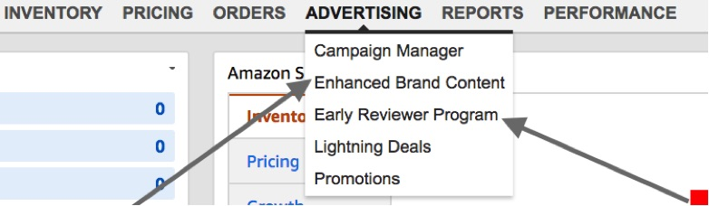 "For those brands that use Fulfillment by Amazon and are enrolled in Brand Registry, there are two marketing options: ""Enhanced Brand Content"" and ""Early Reviewer Program."""