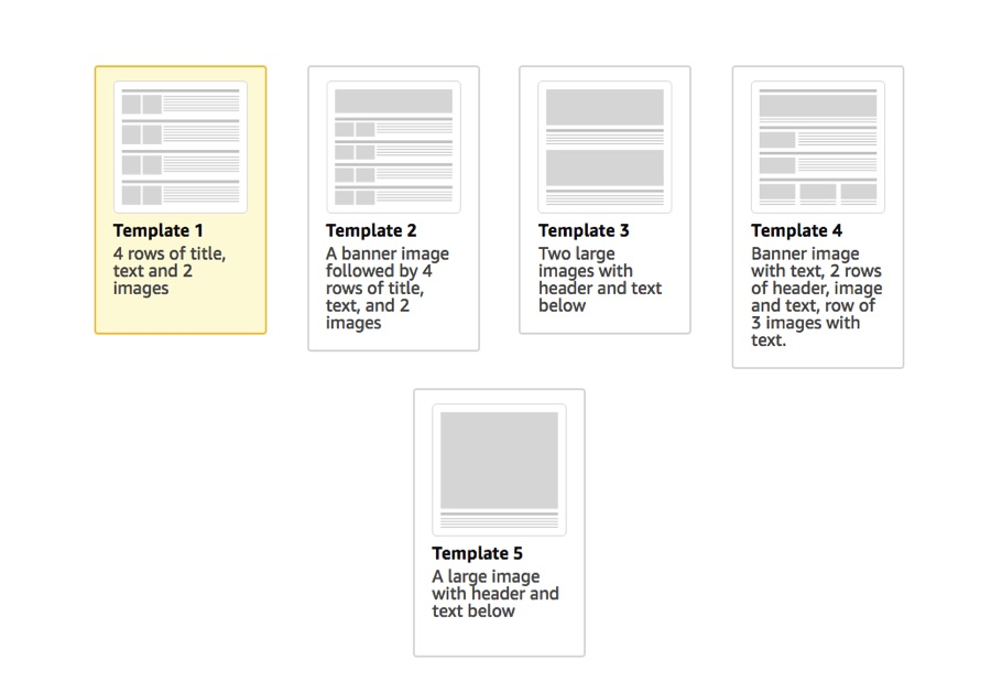Amazon provides five templates to choose from, to enhance a brand's product page. Each product can have its own template.