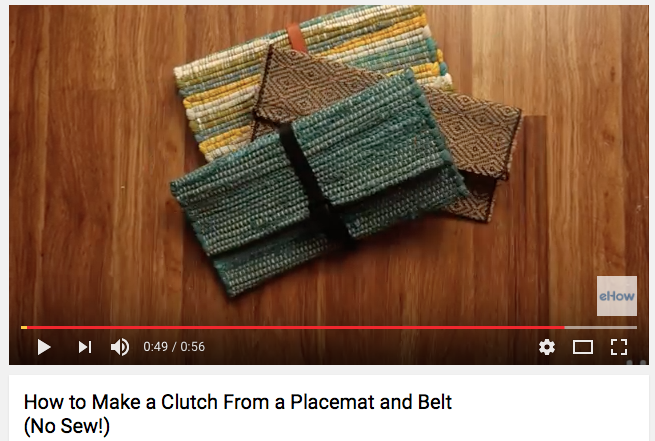 Screenshot of a video showing how to turn a placemat into a clutch purse.