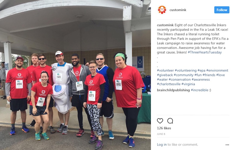 CustomInk, a U.S.-based online apparel company, uses Instagram to showcase employees who participated in a 5K run to raise awareness about water conservation.