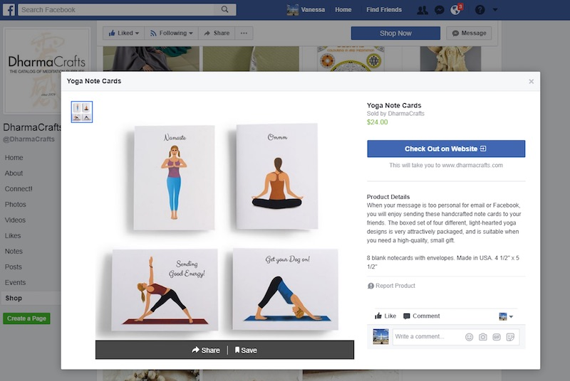 Example of a Shop tab on the DharmaCrafts' Facebook page.