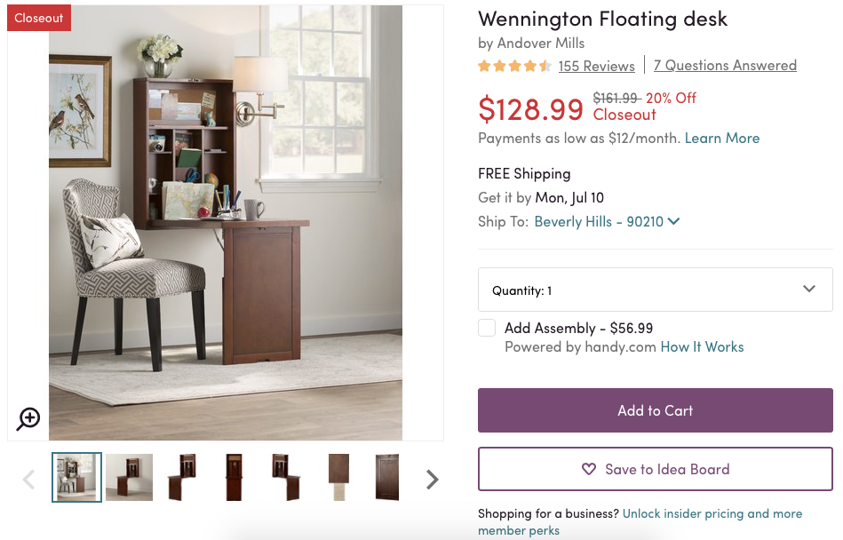 A floating desk could be an ideal product for a 30-something mom returning to college. Conveying the problem the product solves is key. <em>Source: Wayfair.</em>