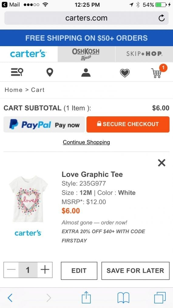 """Carter's repeats the offer and code in the shopping cart: """"EXTRA 20% OFF WITH $40+ WITH CODE FIRSTDAY."""""""