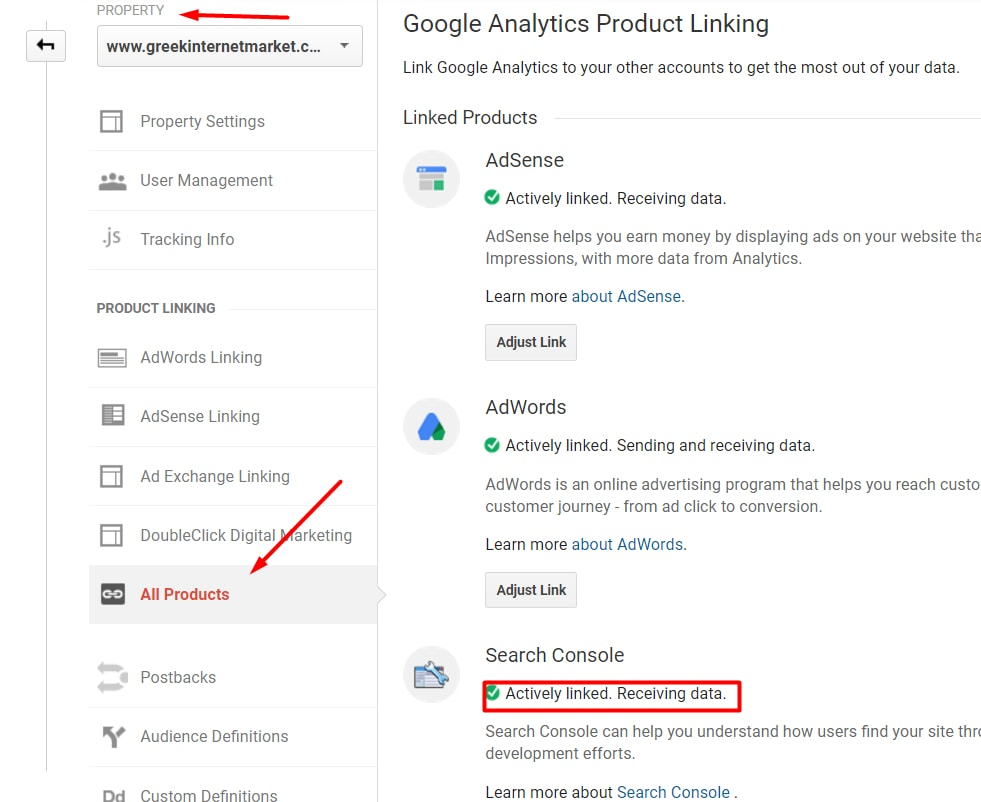 Ensure Search Console is linked by going to Admin > Property > All Products.