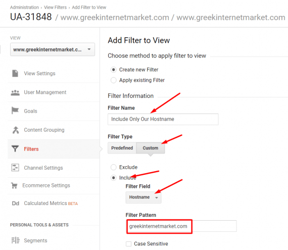 "At Admin > View Settings > Filters, click ""+ Add Filter,"" and give the filter a name. Select ""Custom"" and ""Include"" as the filter type and then ""Hostname"" and enter your domain."