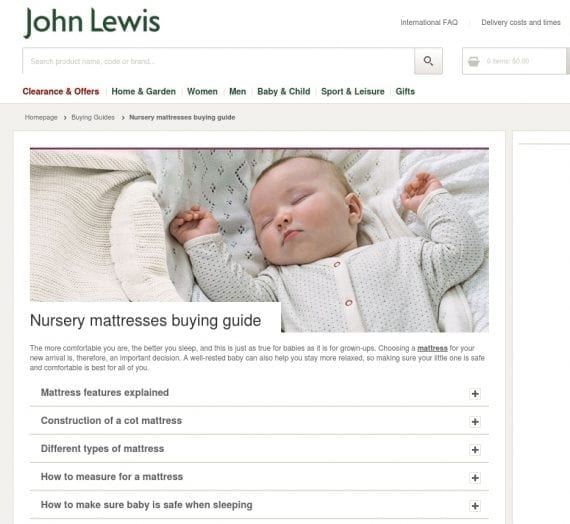 John Lewis provides a buyer's guide to nursery mattresses, and many others, explaining what to look for in this type of product and what various specialty terms mean.