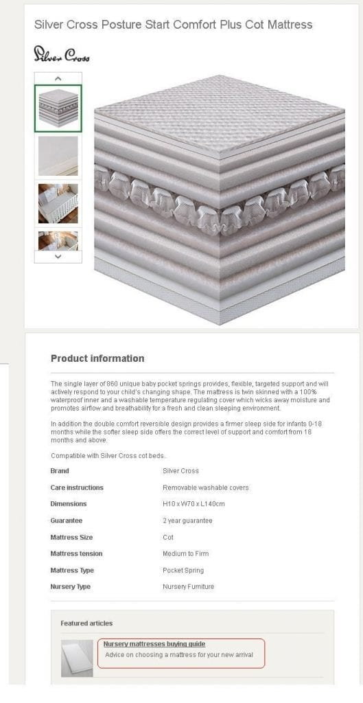"""A buyer's guide, such as John Lewis's """"Nursery mattresses buying guide,"""" shown here, can show up well in search engine results if properly configured.<em>Image: John Lewis.</em>"""