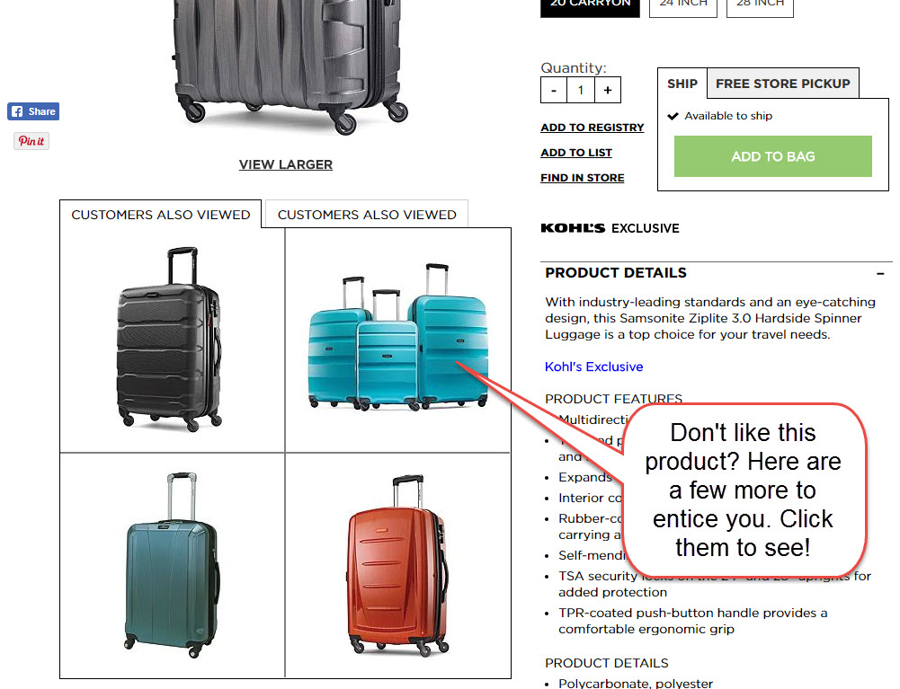 Incorporating related items into the product page works for Kohl's. Be sure to review analytics to see if works for your product lines.