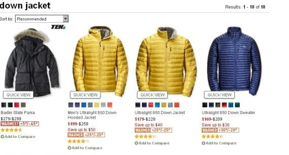 "L.L. Bean now displays helpful numerical temperature ratings for its ""warmer"" and ""warmest"" down parkas."
