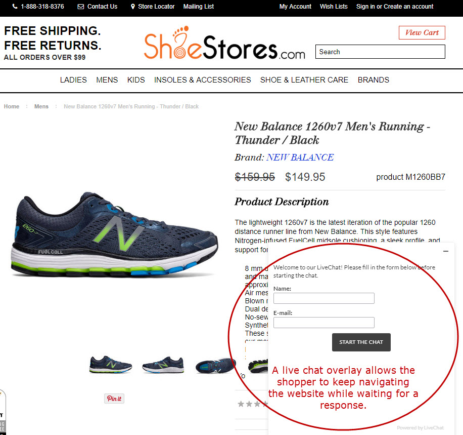 ShoeStores.com uses a live chat overlay.