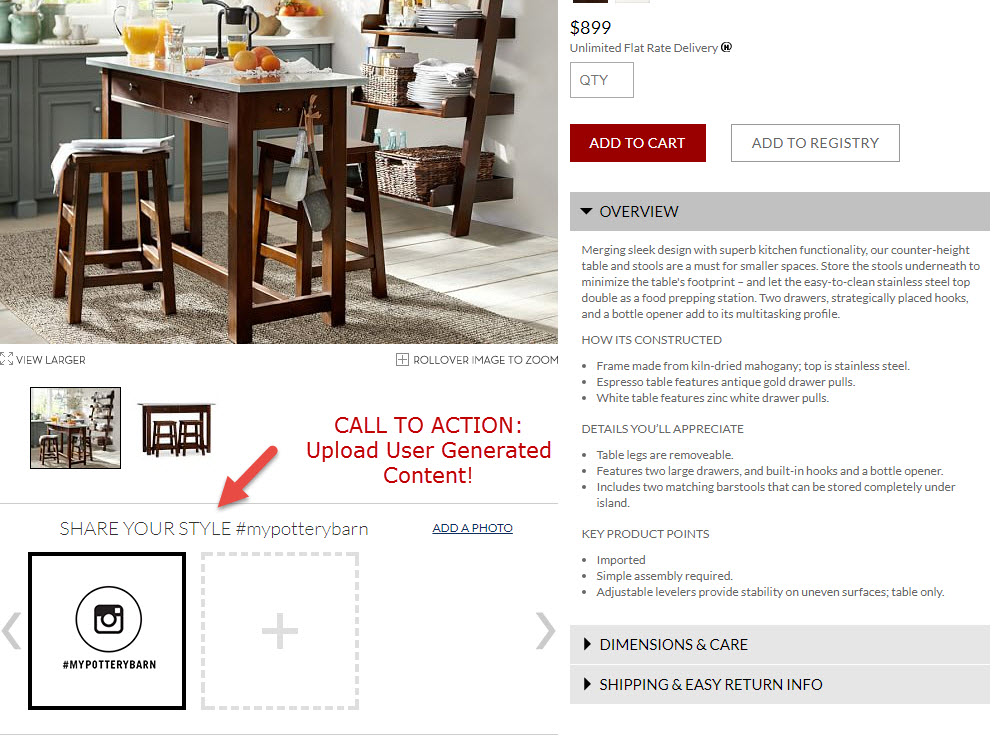 Pottery Barn takes social sharing even further by gathering user-generated content directly on the product page.