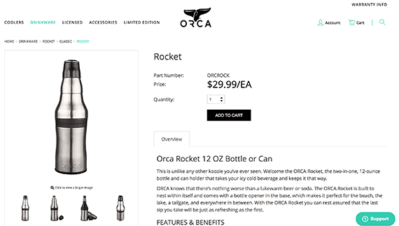 The Orca Rocket is a product that shoppers may not understand from just a picture. A live video sale would allow you to demonstrate how the product transforms.