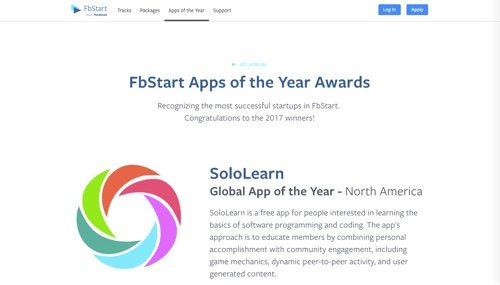 "FbStart ""Apps of the Year"" awards."