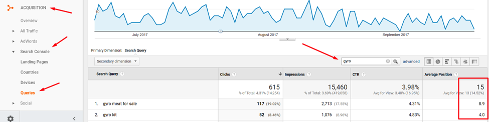 "Entering ""gyro"" in the filter function identifies 615 clicks from search queries."