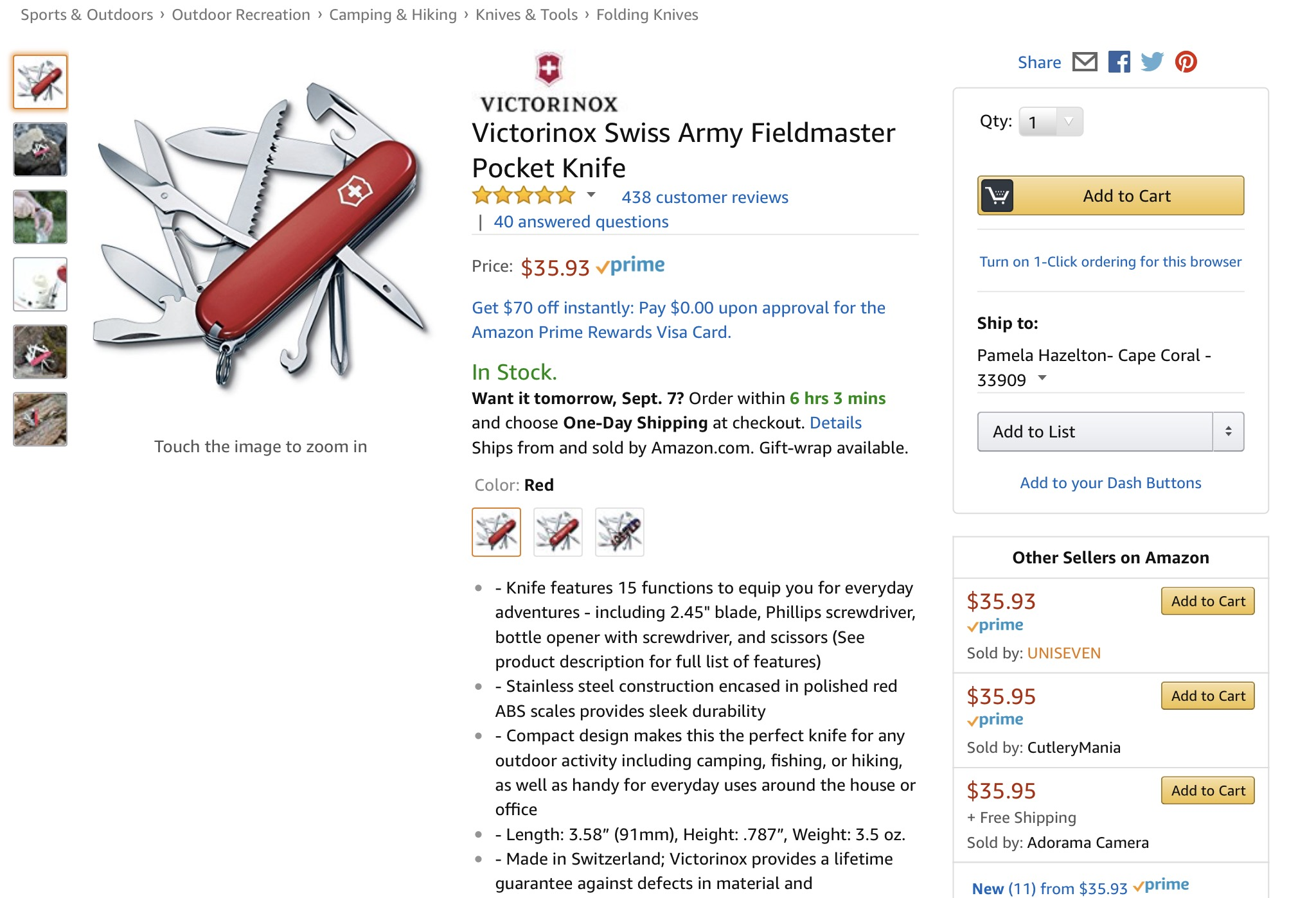 Swiss Army Knife tool at Amazon.